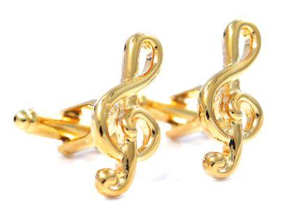 Złote spinki do mankietów - klucze wiolinowe U39