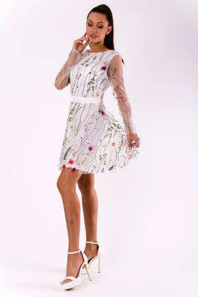 097e7fc88c Sukienka w kwiaty z długim rękawem z siateczki - biała Rozmiar - S zdjęcie 2