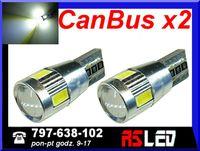 żarówka LED T10 w5w CanBus soczewka can bus 12v biała zimna kpl 2 szt