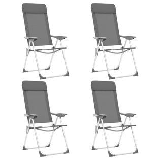 Składane Krzesła Turystyczne, 4 Szt., Szare, Aluminiowe