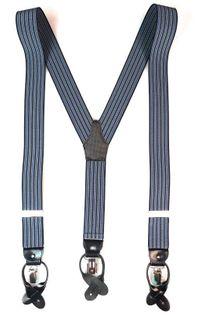 Czarno-niebieskie szelki na guziki w paski G31