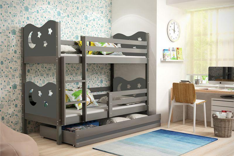 łóżko Dla Dzieci Mik Piętrowe Dziecięce 190x80 Drewniane Meble Stelaż