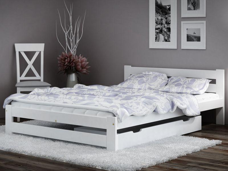 łóżko Kada 140x200 Białeszare Materac Stelaż