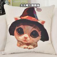 Poszewka na poduszkę - Kotki i Pieski Kotek w kapeluszu 45x45cm