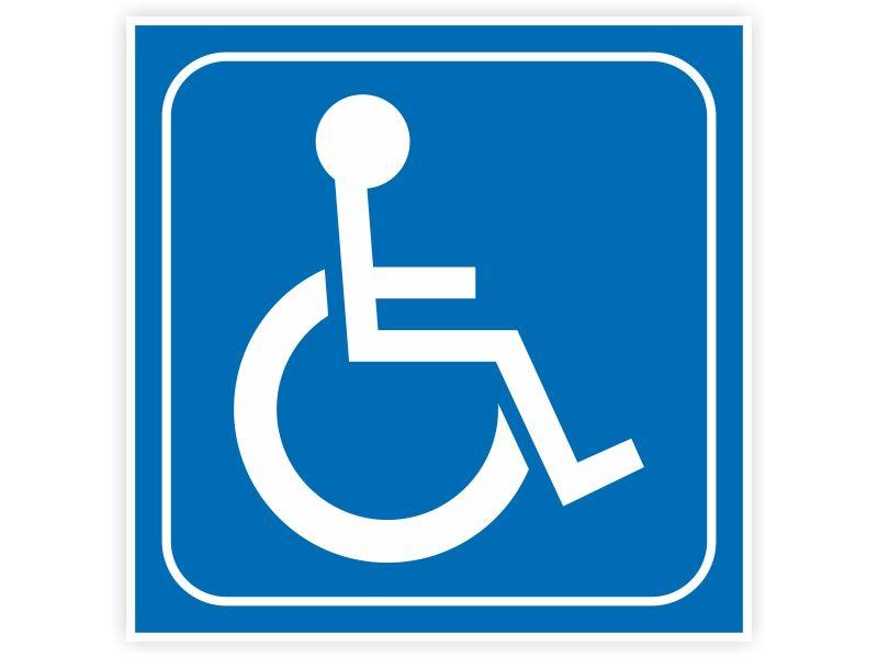 Naklejka INWALIDA znak niepełnosprawni 7x7cm zdjęcie 1