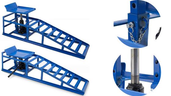 Rampy z podnośnikiem hydraulicznym, Rampy samochodowe Niebieskie