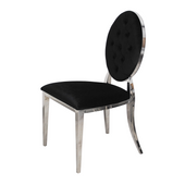 Krzesło Ludwik glamour Black pikowane guziki
