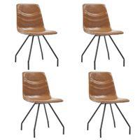 Krzesła jadalniane 4 szt. kolor koniaku sztuczna skóra VidaXL