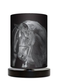 Black horse Lampa stołowa lampka nocna drewniana podstawa czarny koń