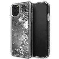 Guess Liquid Glitter Hearts - Etui iPhone 11 Pro Max (srebrny)