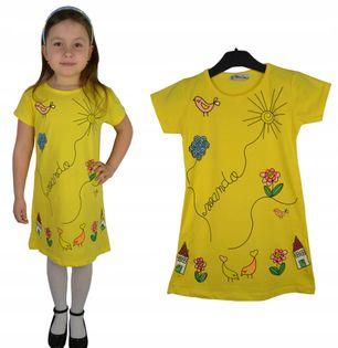 Sukienka/tunika Wiosna żółta, bawełna roz. 122/128
