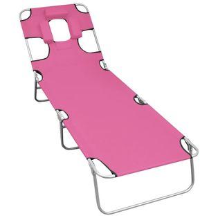 Lumarko Składany leżak z podgłówkiem, stal, różowy