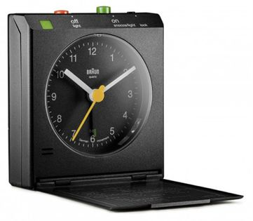 Braun BNC005 Budzik na baterię, mała latarka boczna, drzemka, alarm, mapa stref czasowych, sensor ruchu