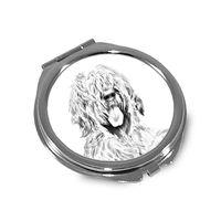 Owczarek francuski briard - kieszonkowe lusterko z wizerunkiem psa.