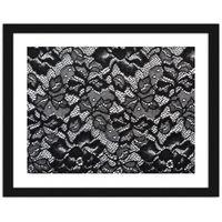 Obraz w ramie czarnej, Koronka z wzorkiem w kwiaty 120x80