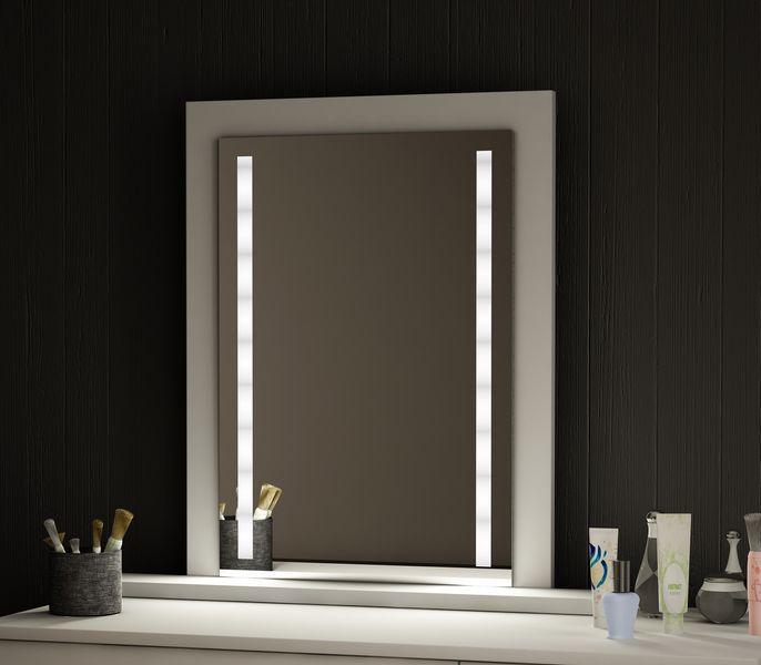 Lustro Z Oświetleniem Led Białe Z Półką 65x50 Cm Arenapl