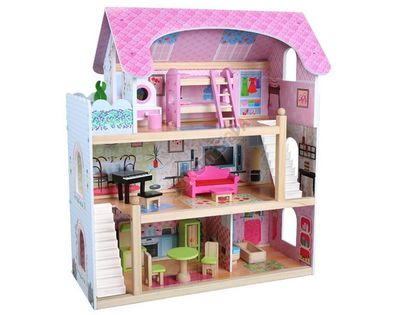 Drewniany Domek dla Lalek + 4 Lalki + Mebelki