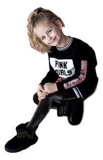 Bawełniana czarna tunika dla dziewczynki z modnym zdobieniem od MałaMi 110/116