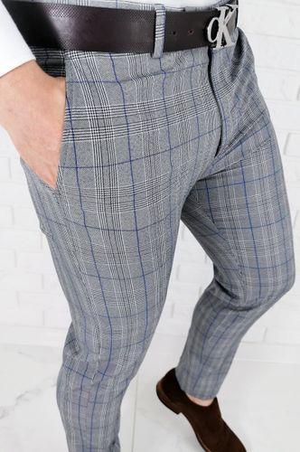 Szare eleganckie spodnie meskie slim fit w krate z niebieska wstawka 1537 - 31 na Arena.pl