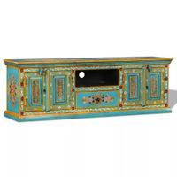 Szafka pod telewizor, drewno mango, niebieska, ręcznie malowana