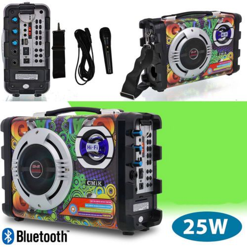 GŁOŚNIK Hi-Fi ODTWARZACZ MP3 RADIO KARAOKE 25W MIKROFONY zdjęcie 2