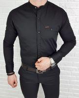 Czarna koszula meska slim fit ze stojka z odobna kieszonka 0274/22 - S