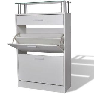 Drewniana szafka na buty z szufladą i szklaną półką, biała