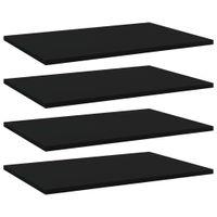 Lumarko Półki na książki, 4 szt., czarne, 60x40x1,5 cm, płyta wiórowa