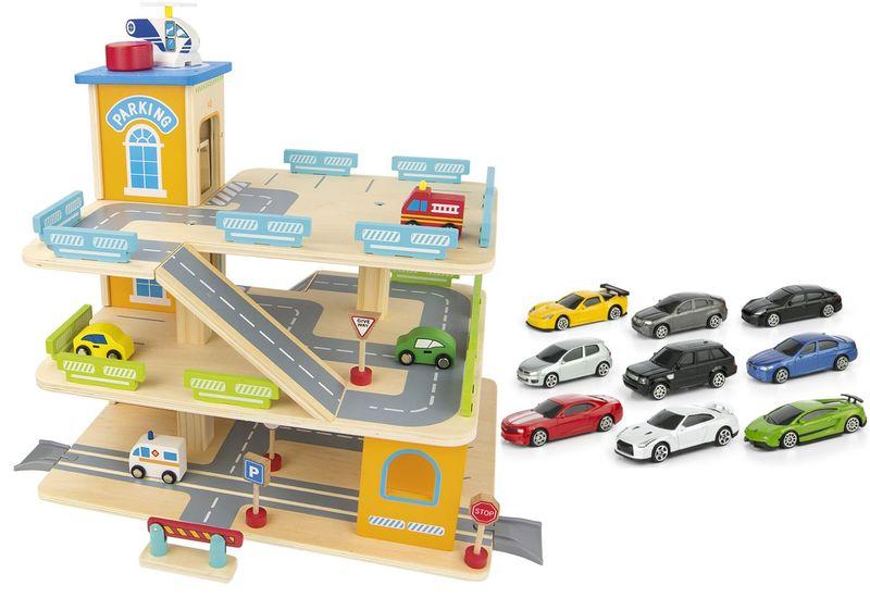Zestaw promocyjny Drewniany parking/Garaż + samochody resoraki na Arena.pl