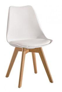 Skandynawskie krzesło KRIS FIORD z poduszką białe BUKOWE NOGI