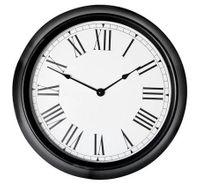 Zegar ścienny TOWER czarny metalowy szyba baterie 35cm swe