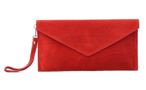 TOREBKA zamszowa kopertówka listonoszka z paskiem V245 czerwona