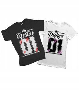 Koszulka dla par King Queen 01 komplet prezent 24h