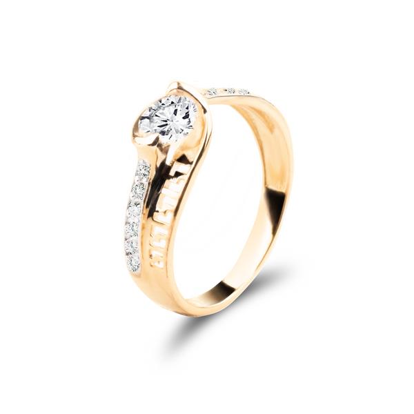 Złoty pierścionek z cyrkoniami ROZMIAR - 10 zdjęcie 1