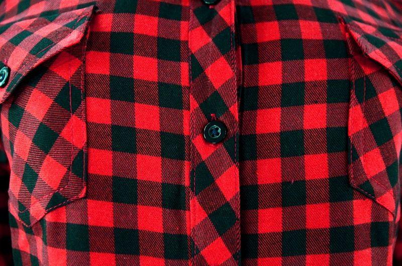 Damska koszula w drobną czerwono czarną kratkę Rozmiar 42  qVcX7
