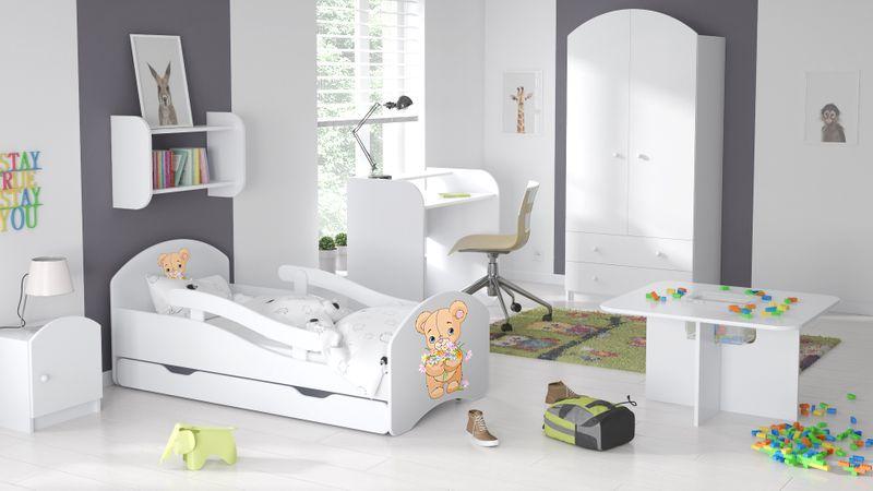 Łóżko dziecięce łóżeczko 140x70 białe szuflada materac dla dziecka zdjęcie 7
