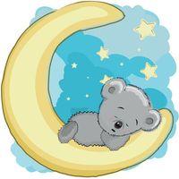 Śpiący Roman na księżycu 10 x 10 cm naklejka ścienna dziecka