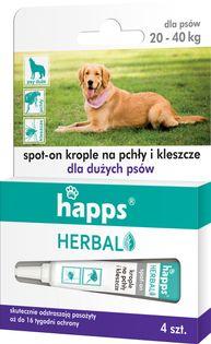 Krople przeciw pchłom i kleszczom dla psów dużych Happs Herbal 4 szt.
