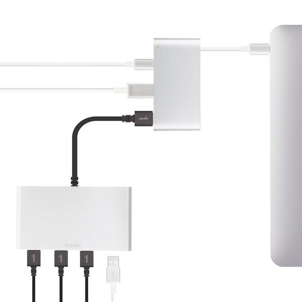 Moshi USB-C Multiport Adapter - Aluminiowy hub 3-w-1 USB-C/Thunderbolt 3 (Silver) zdjęcie 5