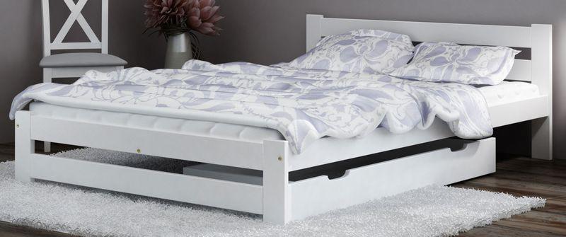 Łóżko 140x200 Sosnowe Białe Stelaż Zagłówek A1 zdjęcie 3