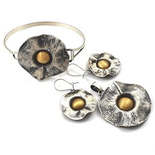 Komplet srebrny artystyczny ręcznie robiony