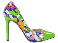Zielone szpilki czółenka z wycięciem buty 39