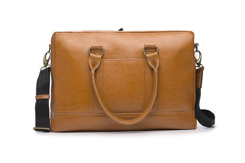 Elegancka brązowa skórzana męska torba na ramię na laptopa skóra naturalna