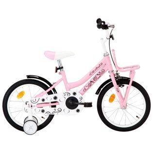 Rower dla dzieci z bagażnikiem, 16 cali, biało-różowy