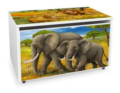 Mobilna skrzynia na zabawki duża Słonie