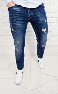 Ciemne jeansy meskie slim fit z dziurami bawelniane 7391 - 30