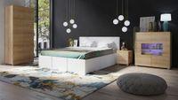 Sypialnia CALABRINI 19C - białe łóżko CALABRINI - E - dąb złoty / dąb złoty, CALABRINI - łóżko - Biała ekoskóra