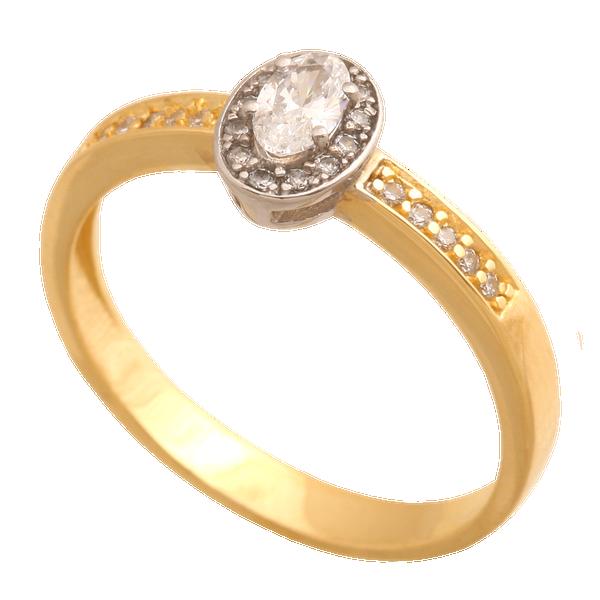 Pierścionek Zaręczynowy Rozmiar 18 żółte I Białe Złoto 58514k Z
