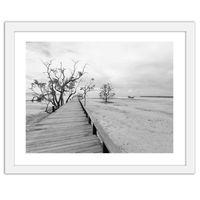 Obraz w ramie białej, Malowniczy krajobraz z pomostem 60x40