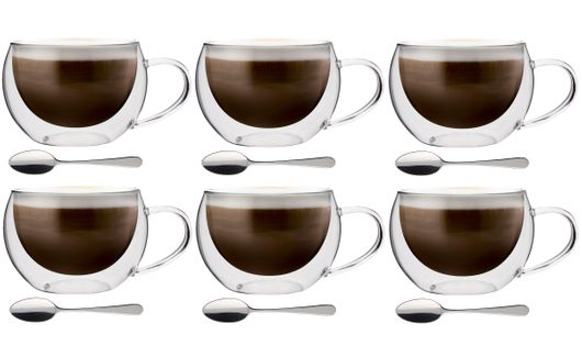 Szklanki Termiczne Kawa Cappuccino Herbata 300 ml z Łyżeczkami 6 sztuk